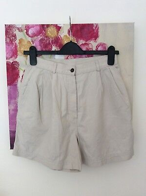 Vintage St Michael Stone Beige High Waisted Cotton Shorts, Size UK 8 Immaculate