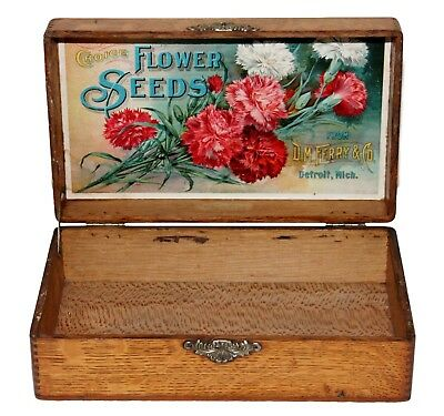 "Antique oak D M Ferry ""Choice Flower Seed"" display box & old gardening magazines"
