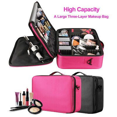 Large Makeup Bag Storage Case Cosmetic Organizer Train Travel W Shoulder Strap