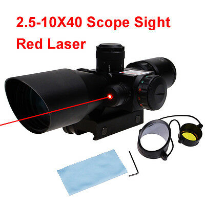 2.5-10x40 Tactical Rifle Scope with Red Laser Dual illuminated Mil-dot w/