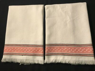 Two Gorgeous Cotton Tea Towels Woven Geometrical Trim on the Both Sides