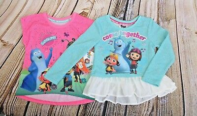 Beat Bugs Toddler Girls' Size 4T Shirt Set Pink Short Sleeve Blue Long Sleeve