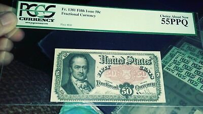 50 Cent Fifth Issue Fractional Currency Note Paper Bill - PCGS 55 PPQ