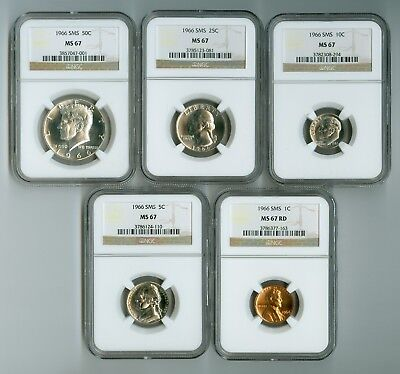 1966 NGC SMS MS67 Gorgeous 5-Coin Set: Half, Quarter, Dime, Nickel and Cent