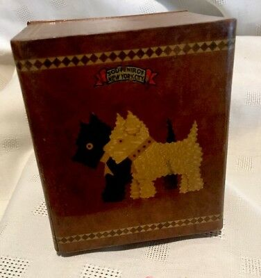 1937 Vintage Wood Inlayed Scotty Scottie Dog Box with 2 Drawers NY Souvenir