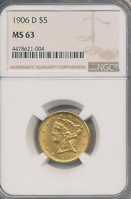 1906-D Liberty Head Gold $5 Half Eagle **ngc Certified Ms 63** Free Shipping!