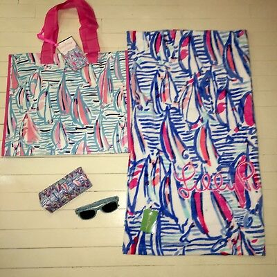 4 Pc NEW Lilly Pulitzer 🇺🇸Red Right Return Towel, Beach Bag, Lilly🕶&Case July