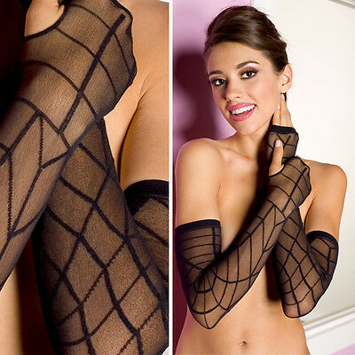 Black Sheer Goth Witch Spider Web Halloween Fingerless Long Gloves Arm Warmers