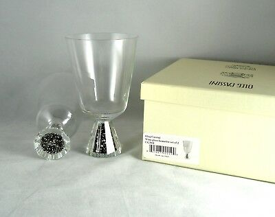 Oleg Cassini Clear Wine Glasses Black Hematite Crystal Glitter Set of 2 NIB