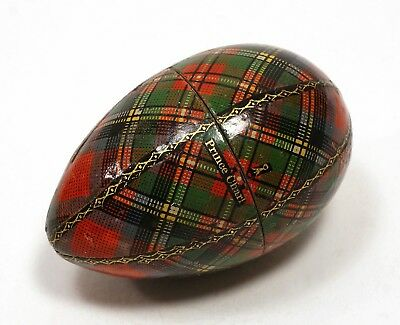 Antique SMALL Mauchline TARTANWARE Prince Charlie SEWING EGG Thimble Needle CASE