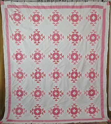 Sweet Vintage c1930s Pink & White Goose In The Pond QUILT TOP Large 94x81