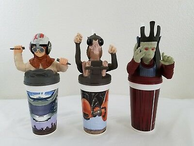 Collect 3 Piece Set STAR WARS EPISODE CUP TOPPERS TACO BELL KFC PIZZA HUT 1999