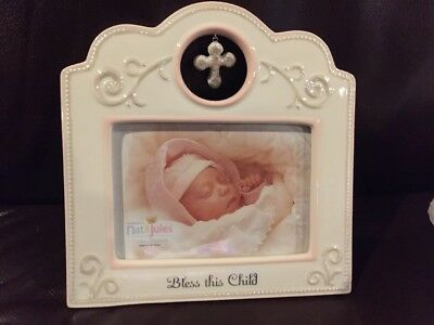 New Nat and Jules Bless This Child Frame Pink Girls Baptism