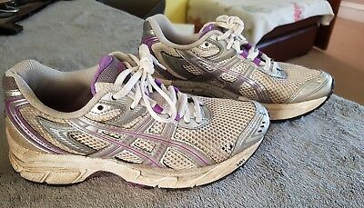 Womens Girls Asics Trainers Size 4 running gym yoga sport grey pink silver