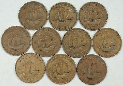 Lot of 10 Great Britain Half Pennies Nicely Circ WIN 10 or More ITEMS =FREE SHIP
