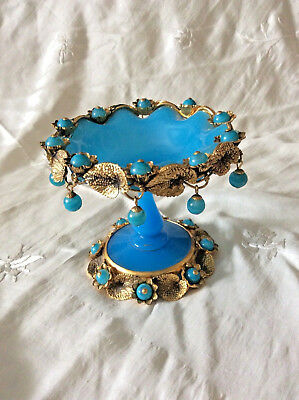 Antique French Blue Opaline Glass & Gold Gilt Candy Dish Tazza Rococo Ormolu