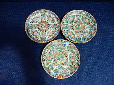 Rose Canton Medallion butterfly pattern with blue dragons small plates