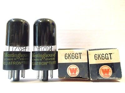 2 Vintage Westinghouse Matched 6K6Gt Nos Vacuum Tube Tested Black Glass Beauties