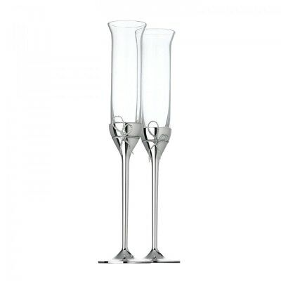 NEW Vera Wang Wedgwood Love Knots Silver Toasting flutes Giftware Toasting! SALE