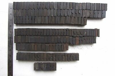 "187 antique letterpress wood printing blocks, 1 1/8"", art deco style, condensed"