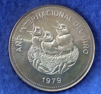 1979 Costa Rica 100 Colones .925 Silver Coin, 3 Birds in Nest, ASW 1.041 Oz.