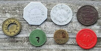 Trade Token Lot VA TN TX AR KS NC Coal Scrip Prison Bread Saloon Baker Theatre