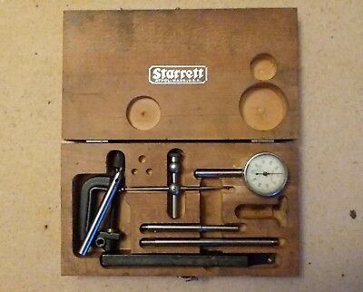 Vintage L.S.STARRETT No.196 Universal Dial Test Indicator Set Wooden Case Parts