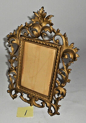 "Antique Victorian Style Ornate Cast Iron GOLD Tone 11 3/4"" Picture Frame 1"
