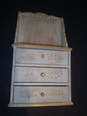 Vintage Wood Wooden Small Wall Table Cabinet whitewash gold tole French Country