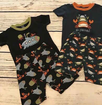 Boys Gymboree Pajama Lot Size 5 Two Two-piece Spring Summer Crabs Submarine