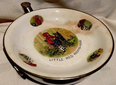 VINTAGE EXCELLO LITTLE RED RIDING HOOD FEEDING WARMER DISH Antique