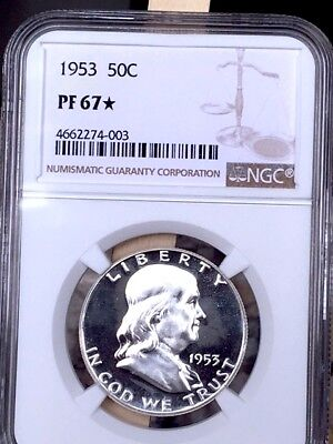 1953 STAR Franklin Half NGC PF 67 STAR * Price Guide $575-$1,250 Gorgeous! *