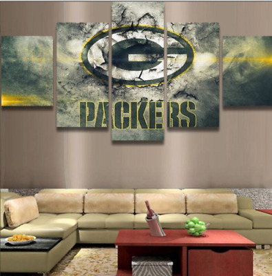 5 Pcs Green Bay Packers Canvas HD Prints Painting Wall Art Sports Home Decor