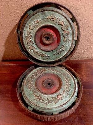 """Vintage Pair of Ornate Green/Red Cast Iron 8"""" Wheels Steampunk Industrial Decor"""