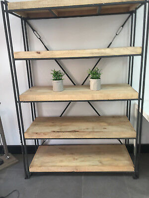 Rustic Timber and Iron Shelving Unit