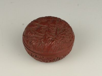 Chinese Exquisite Hand-carved landscape carving lacquerware box