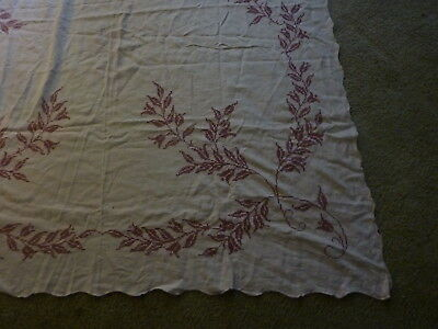 TABLECLOTH Vintage Pink LEAVES Cross Stitch Embroidered Linen 63x81 Scalloped E6