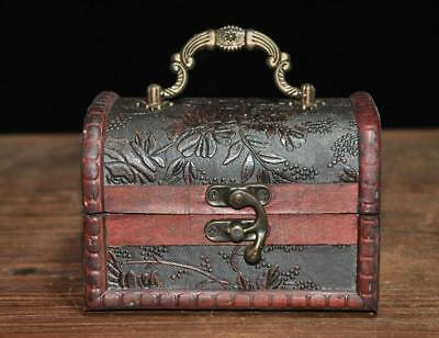 chinese wood hand-carved Old wooden box jewellery box storage box