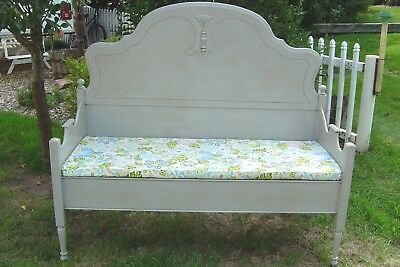 Repurposed Aged Gray Antique Headboard Bench For Porch Foyer Bedroom Dining