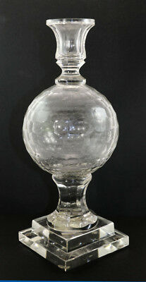 Imposing Bohemian candlestick, central cut sphere, pedestal base [11536]