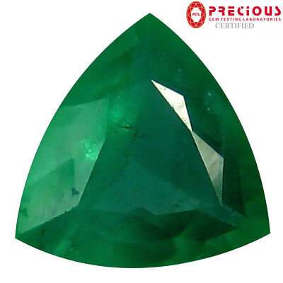 1.65 ct PGTL CERTIFIED SPECTACULAR TRILLION CUT (9 X 9 MM) COLOMBIAN EMERALD