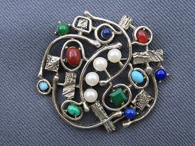 Vintage Brooch Signed Art, Abstract Hieroglyphic Brutalist, Stones, Silver Round