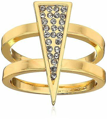 NEW Jules Smith 14K Gold Plated Cubic Zirconia Crystal Pavé Triangle Ring 6 NIB