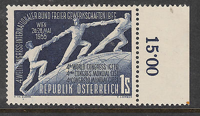USTRIA 1955 World Trade Union COngress MVLH with Margin