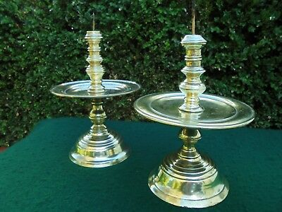 PAIR ANTIQUE BRASS BUDDHIST ALTAR CANDLE STICK HOLDERS PRICKETS c1900