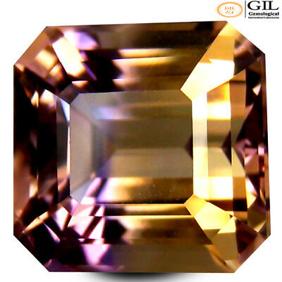 7.89 ct GIL Certified  Octagon Cut (12 x 11 mm) Purple and Yellow Ametrine Stone