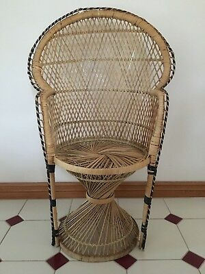 Vintage Peacock Chair Cane Wicker Doll Display 75 Cm Frankston South