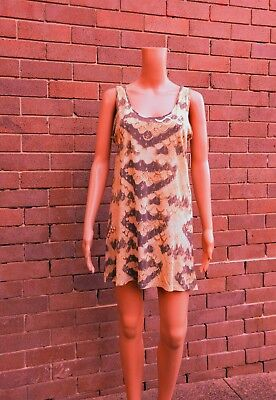 SASS & BIDE ~ 10 ~ THE SHINE COLLECTIVE Gold Accent Snakeskin Cotton Tank Dress