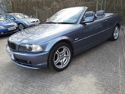 2002 BMW 318 CI 2.0 MANUAL CONVERTIBLE, METT BLUE, GREY LEATHER,BLUE ROOF,87000m