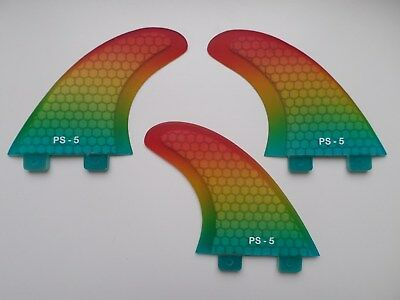 PERFORMANCE CORE surfboard THRUSTER FINS rainbow (set x 3) hexcore FCS compatibl
